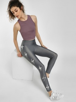 K ACTIVE KOOVS Reflective Thunderbolt Print Leggings