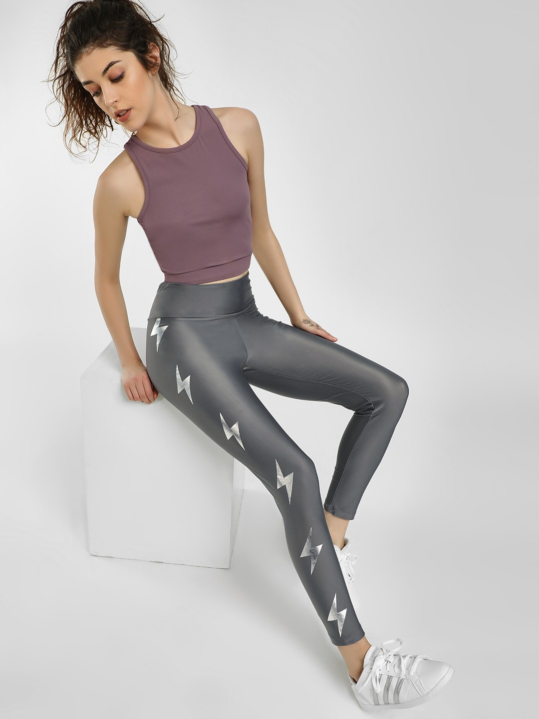 K ACTIVE Grey KOOVS Reflective Thunderbolt Print Leggings 1