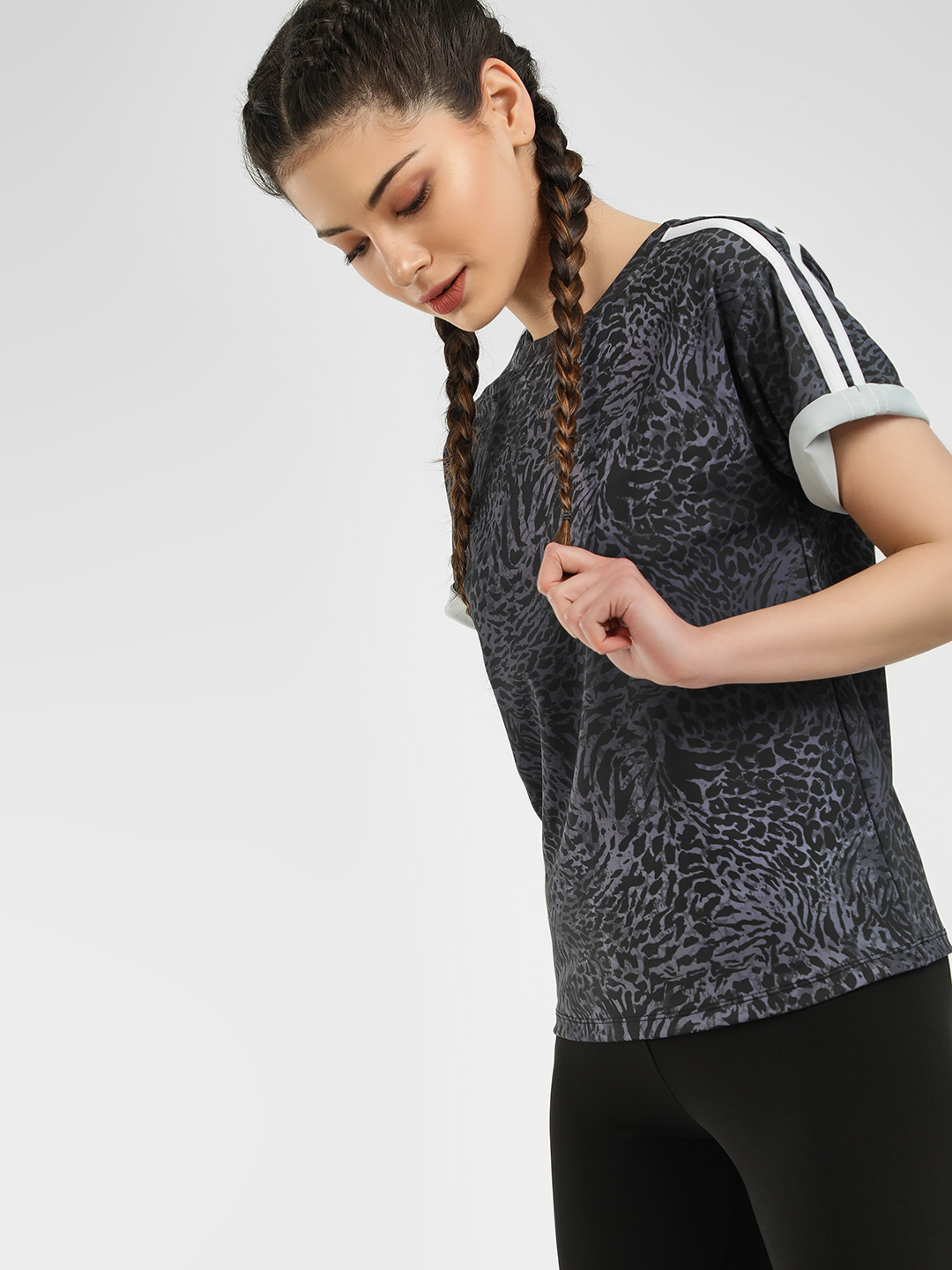 K ACTIVE Multi KOOVS Leopard Print Side Stripe T-Shirt 1