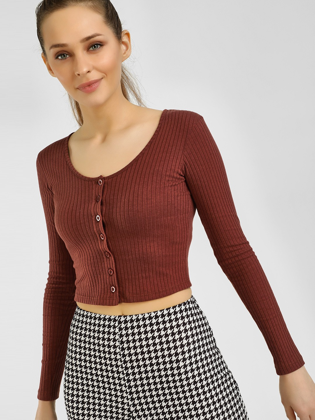 KOOVS Brown Button-Front Ribbed Crop Top 1