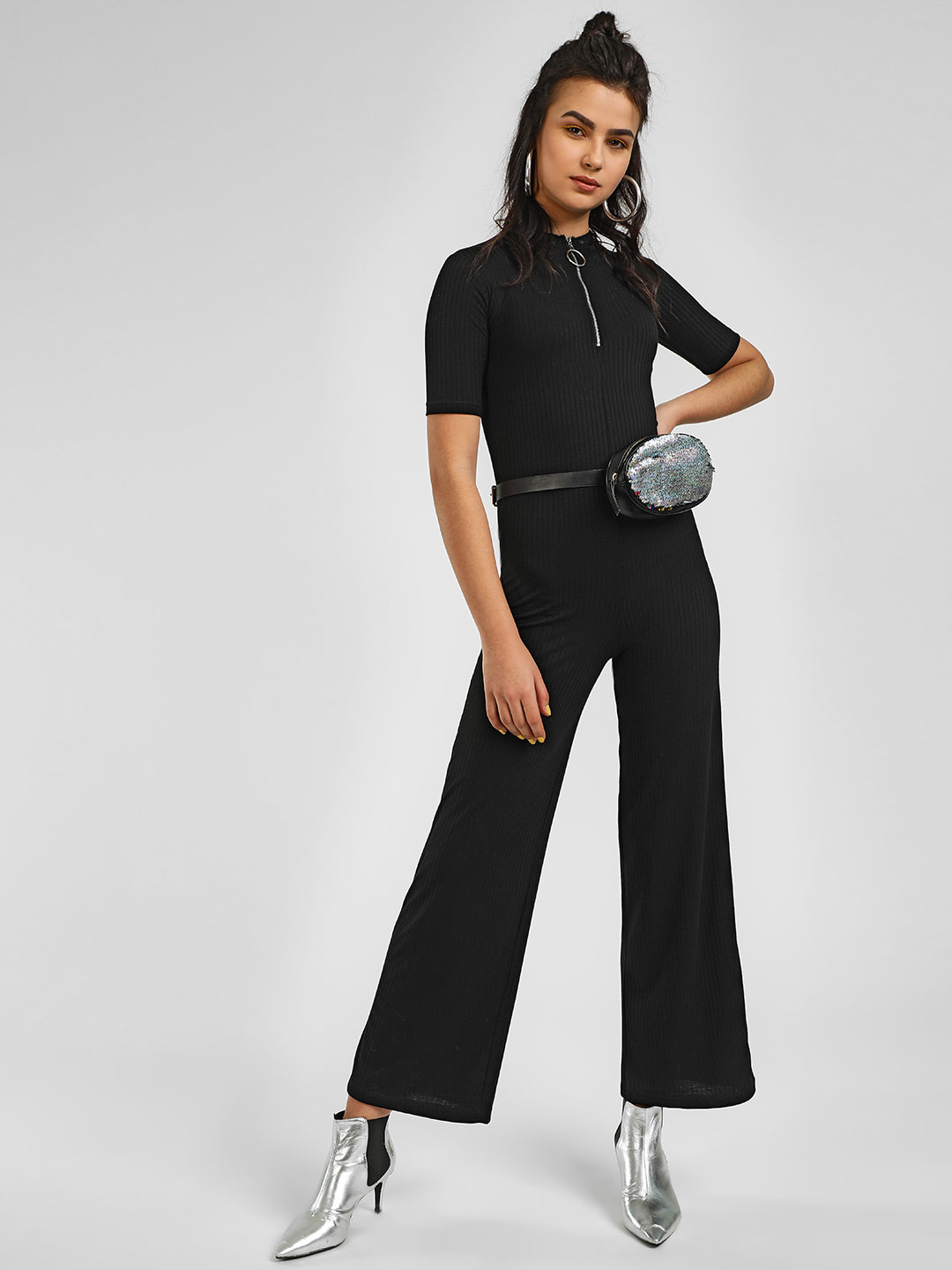 KOOVS Black Basic Ribbed Zip-Up Jumpsuit 1