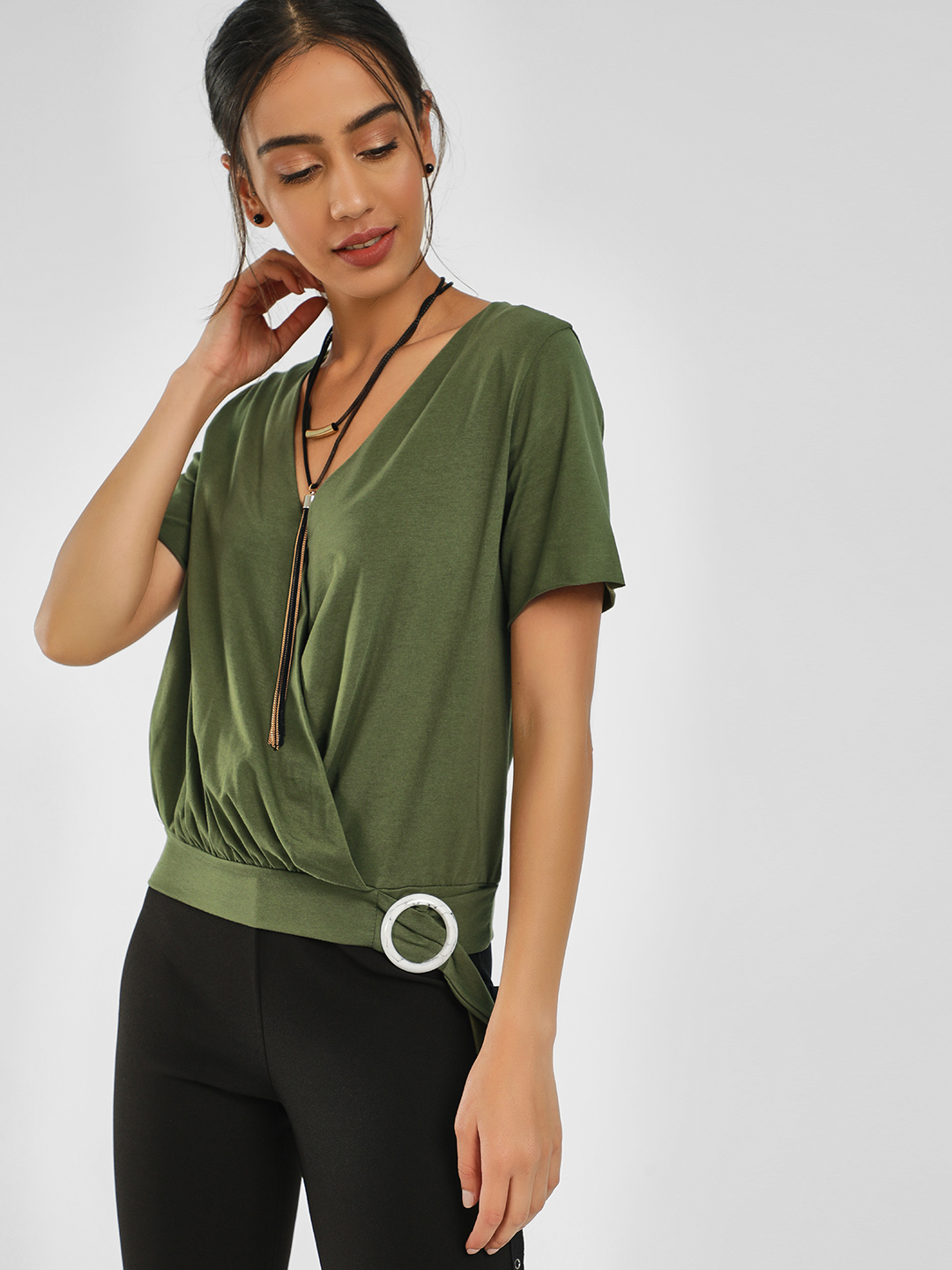 KOOVS Green Buckle Detail Wrap Top 1
