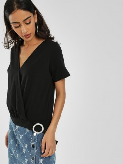 KOOVS Buckle Detail Wrap Top