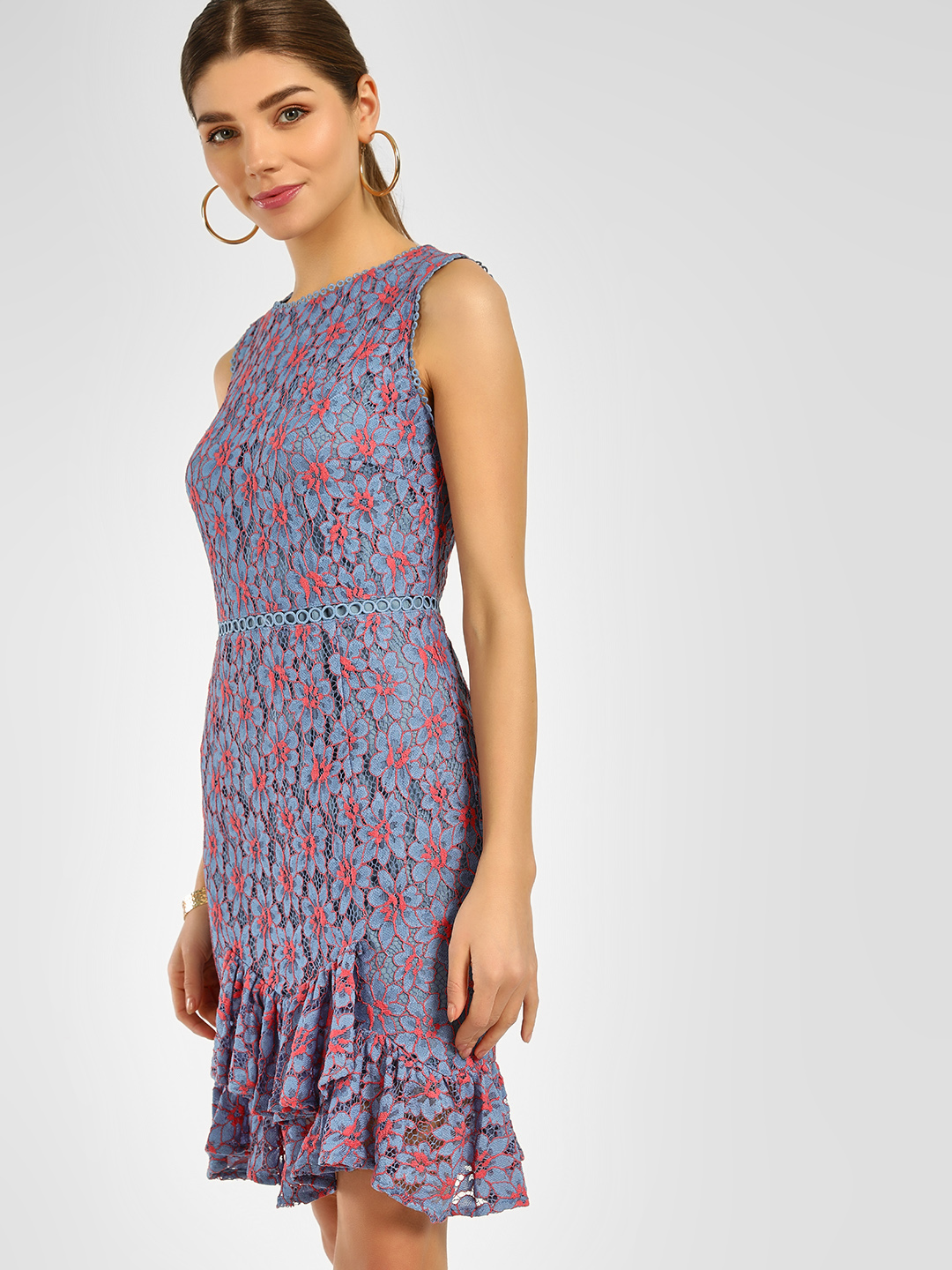 Cover Story Blue Floral Lace Bodycon Dress 1
