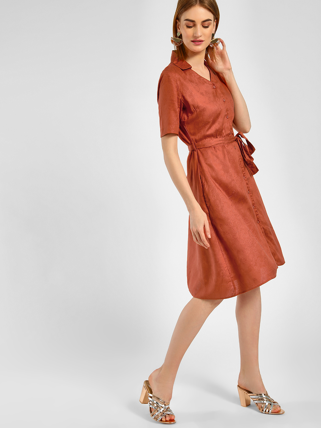 Cover Story Brown V-Neck Shirt Midi Dress 1