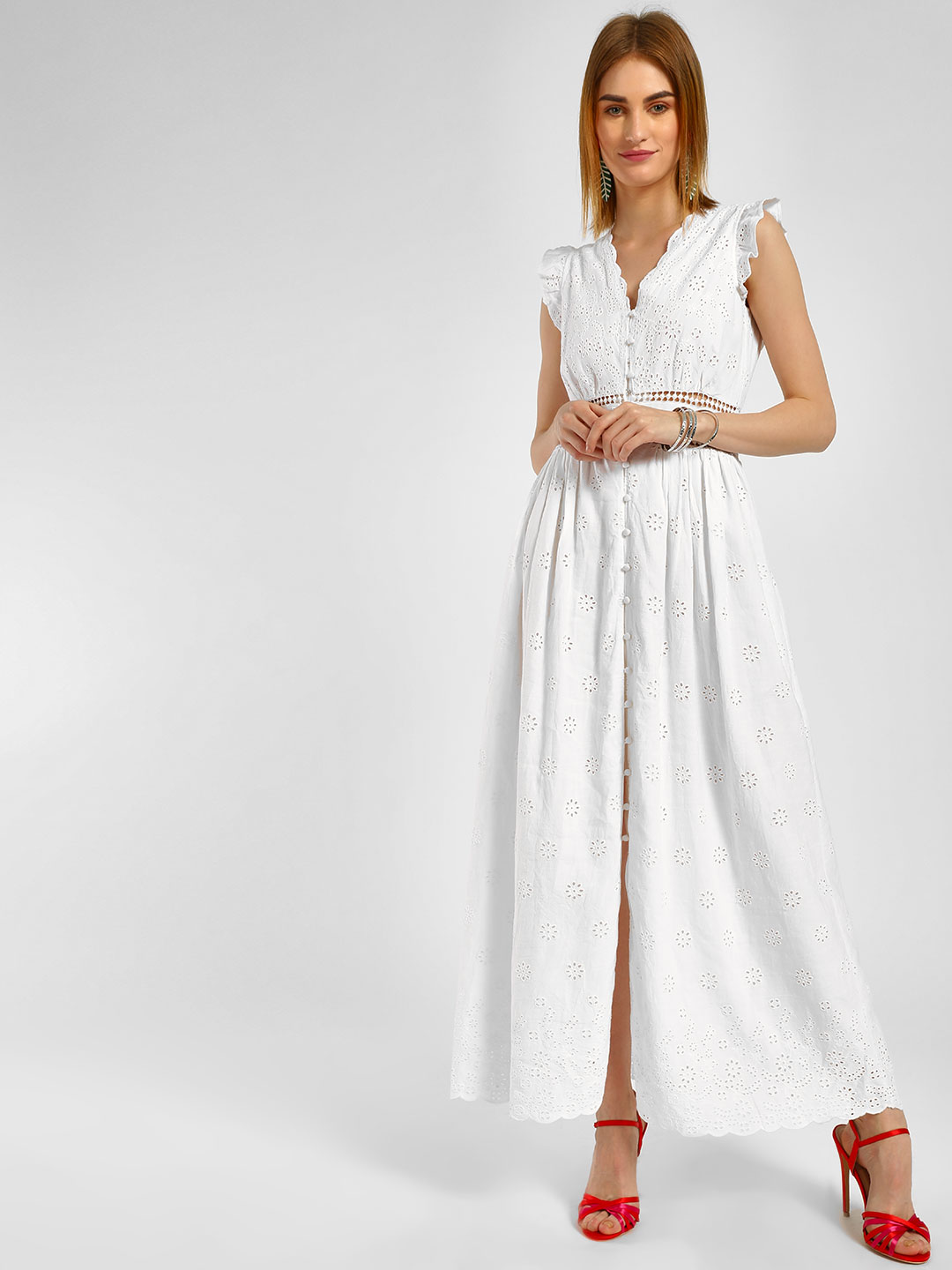 Cover Story White V Neck Lace Maxi Dress 1