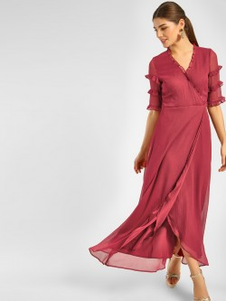 Cover Story Frill Wrap Maxi Dress