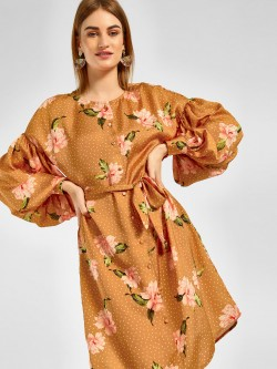 Cover Story Polka Floral Print Shirt Dress