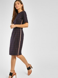 Cover Story Checkered Contrast Tape Midi Dress