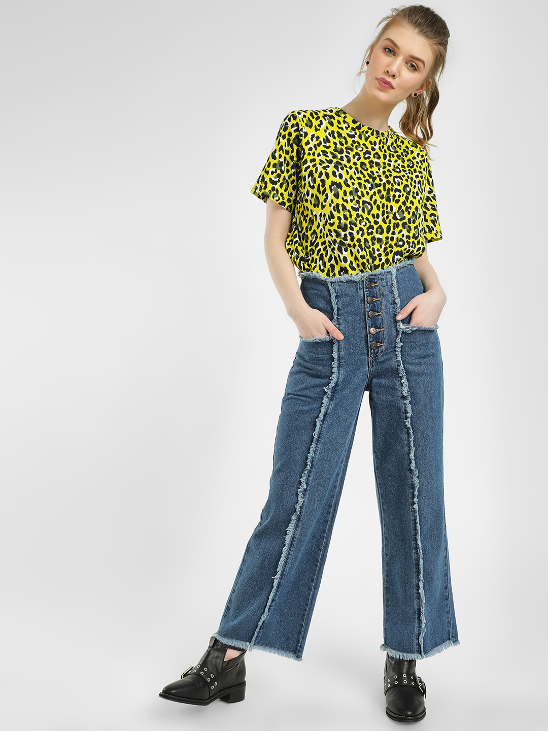 Cover Story Blue Frayed Panel Flared Jeans 1