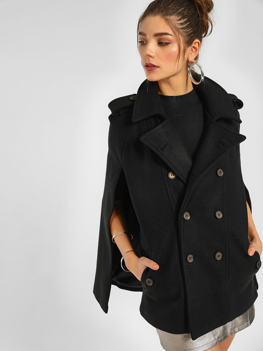 Cover Story Black Cape Style Casual Coat 1