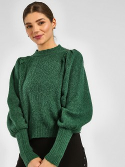 Cover Story Mutton Sleeve Ribbed Pullover