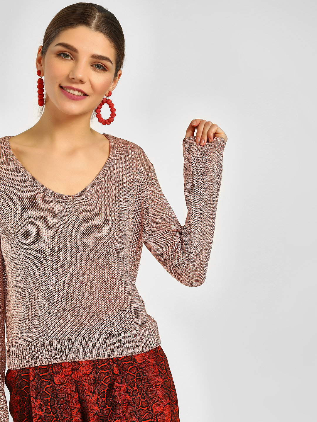 Cover Story Pink V-Neck Shimmer Knitted Pullover 1