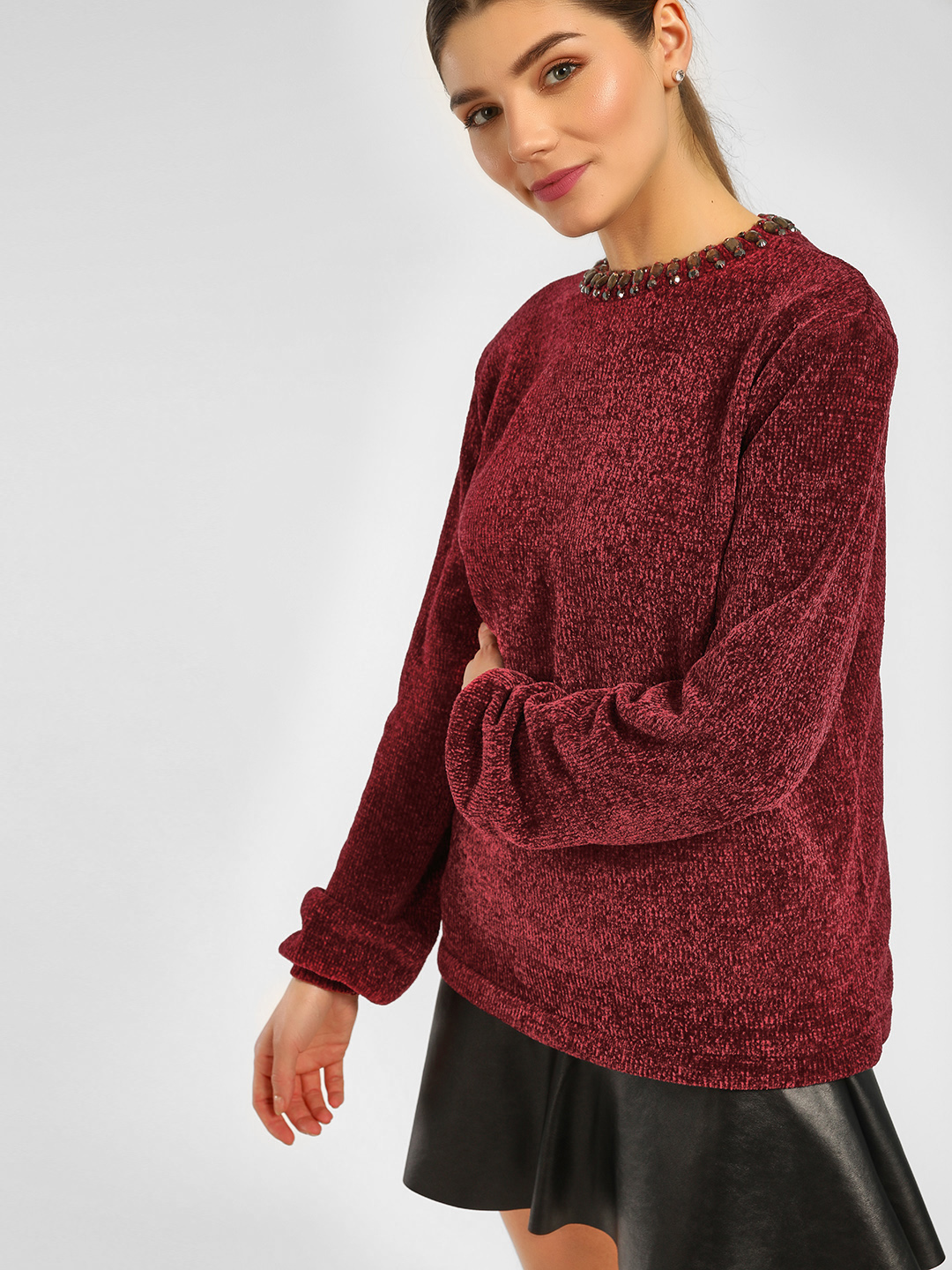 Cover Story Wine Neck Embellished Knitted Pullover 1