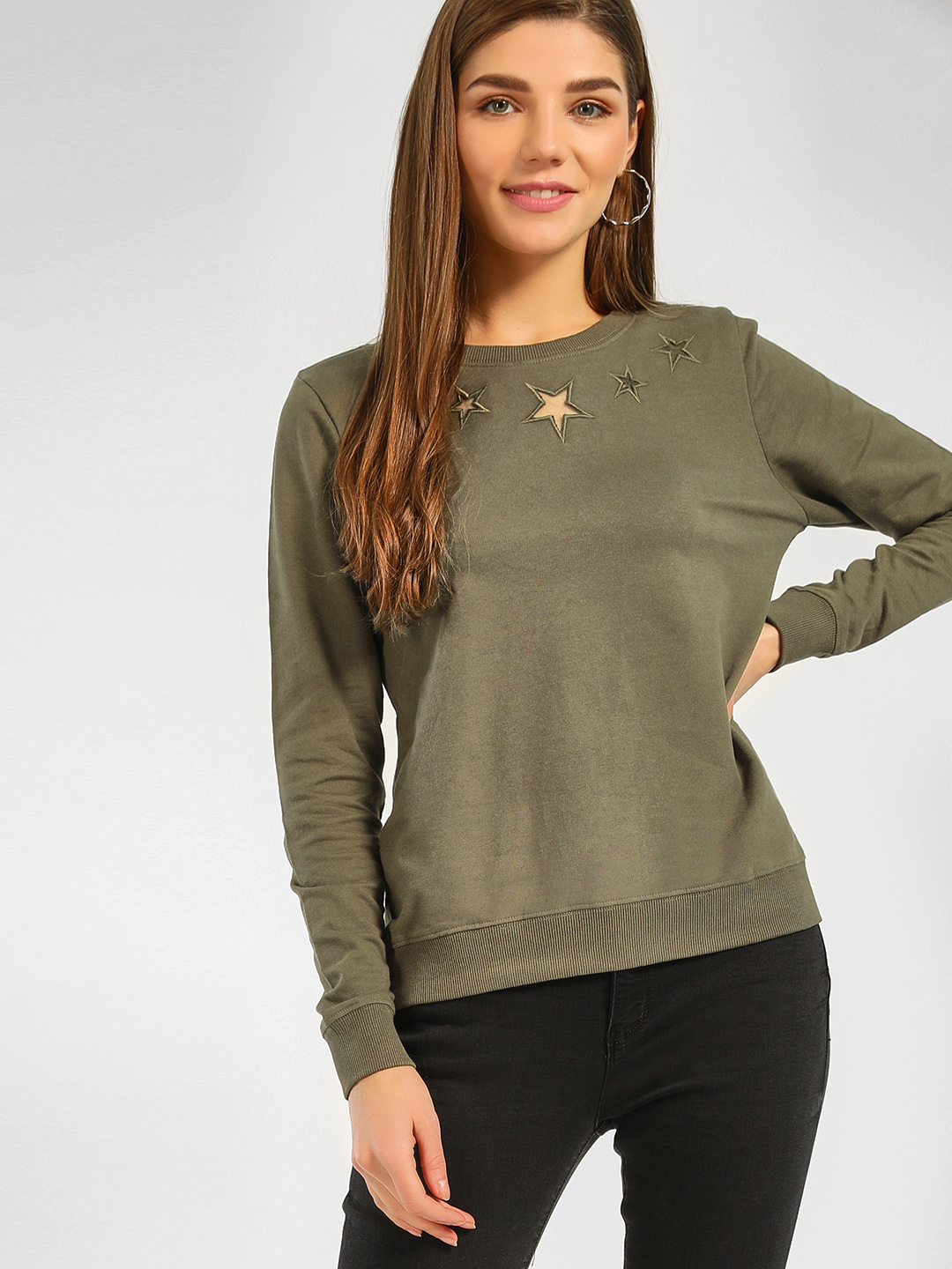 Cover Story Olive Star Embroidered Mesh Sweatshirt 1