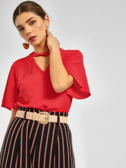 Cover Story Flared Sleeve Choker Top