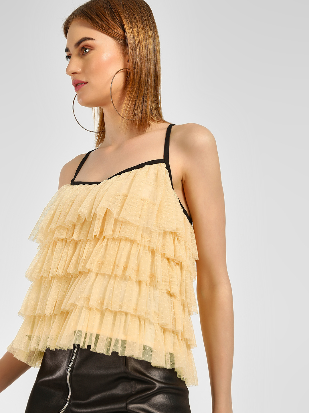 Cover Story Yellow Mesh Tier Flared Blouse 1