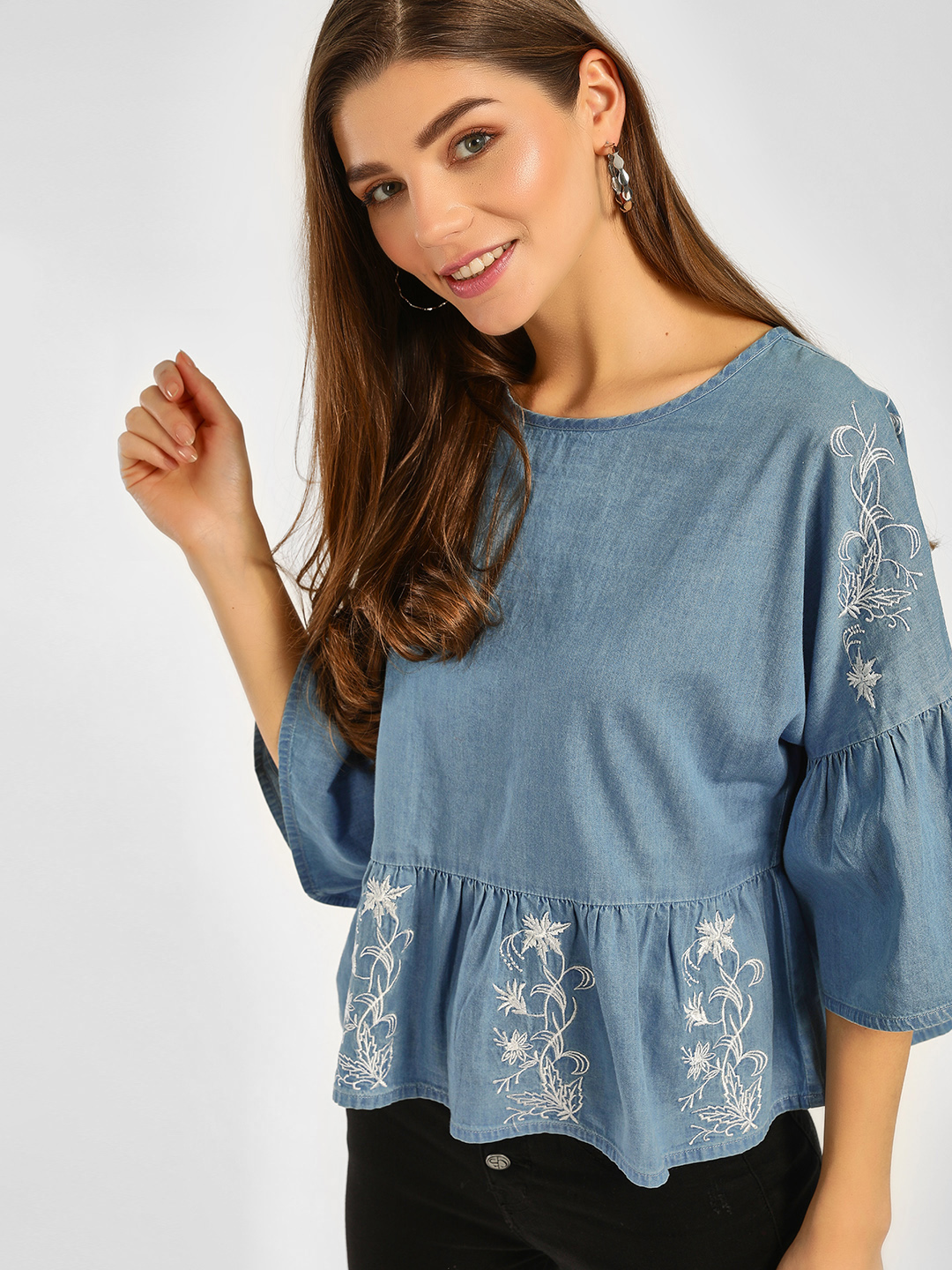 Cover Story Blue Embroidered Bell Sleeves Top 1
