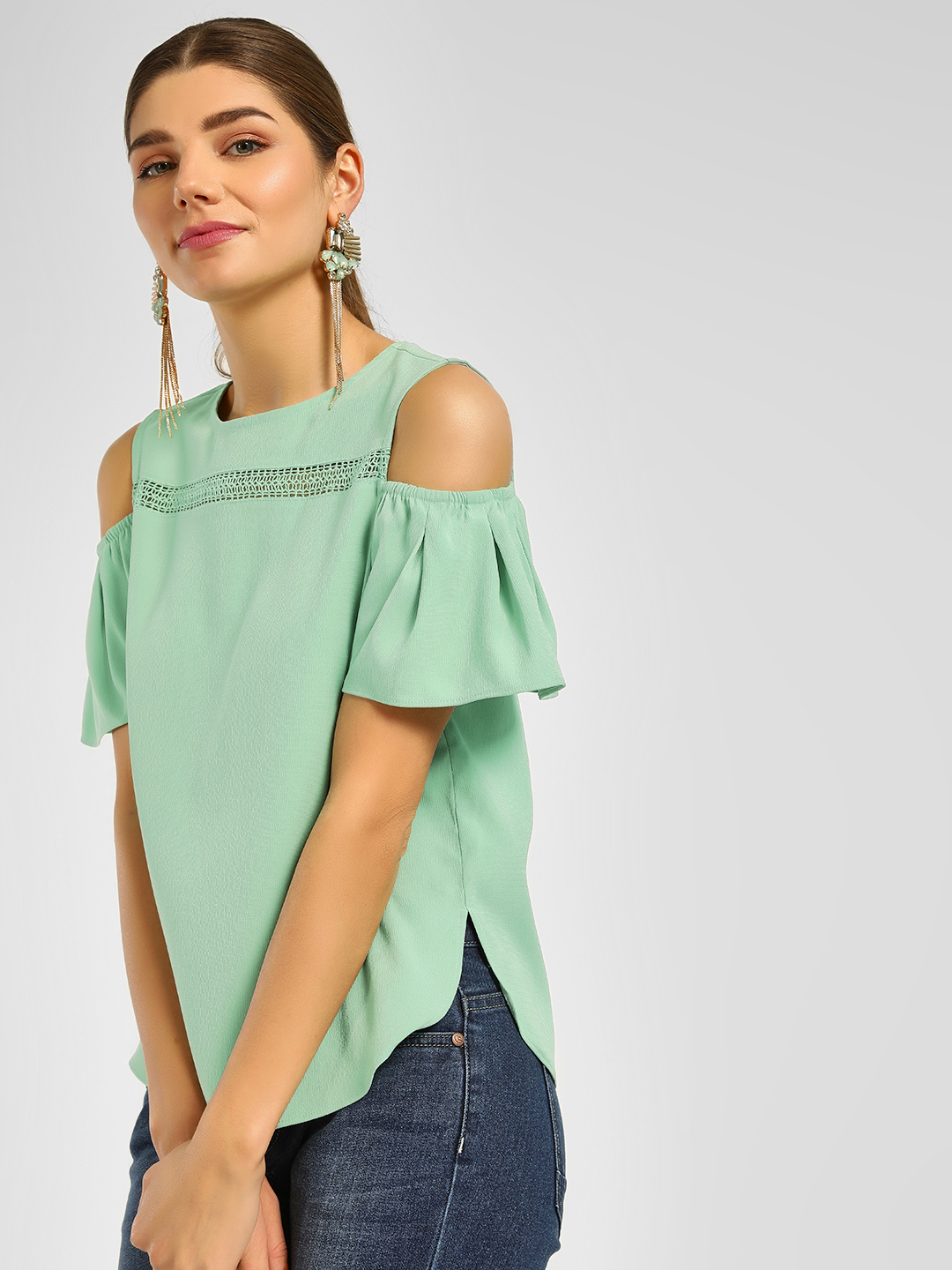Cover Story Mint Lace Trim Cold Shoulder Blouse 1