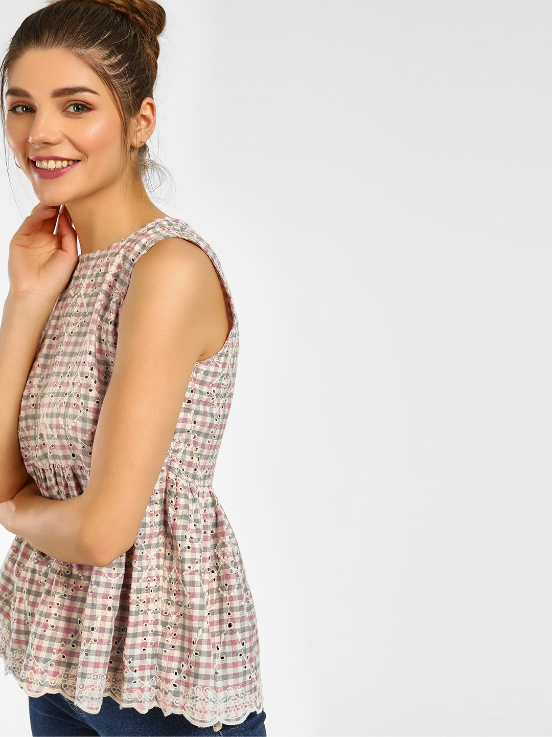 Cover Story Pink Sleeveless Check Top 1
