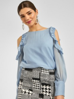 Cover Story Frill Cold Shoulder Blouse