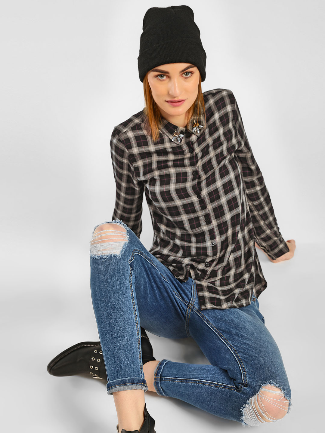 Cover Story Multi Collar Embellished Check Shirt 1