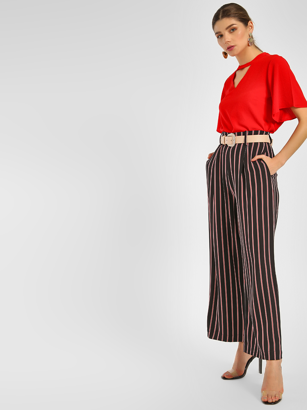 Cover Story STRIPE Striped Wide Leg Trousers 1