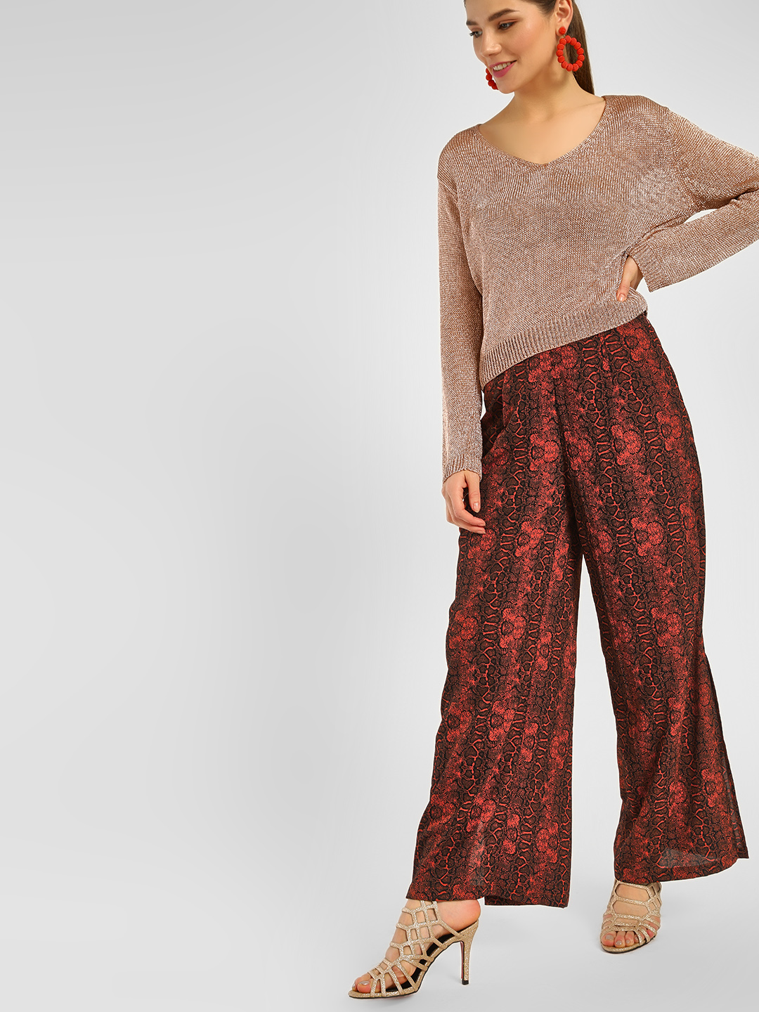 Cover Story Rust Snake Print Split Side Trousers 1