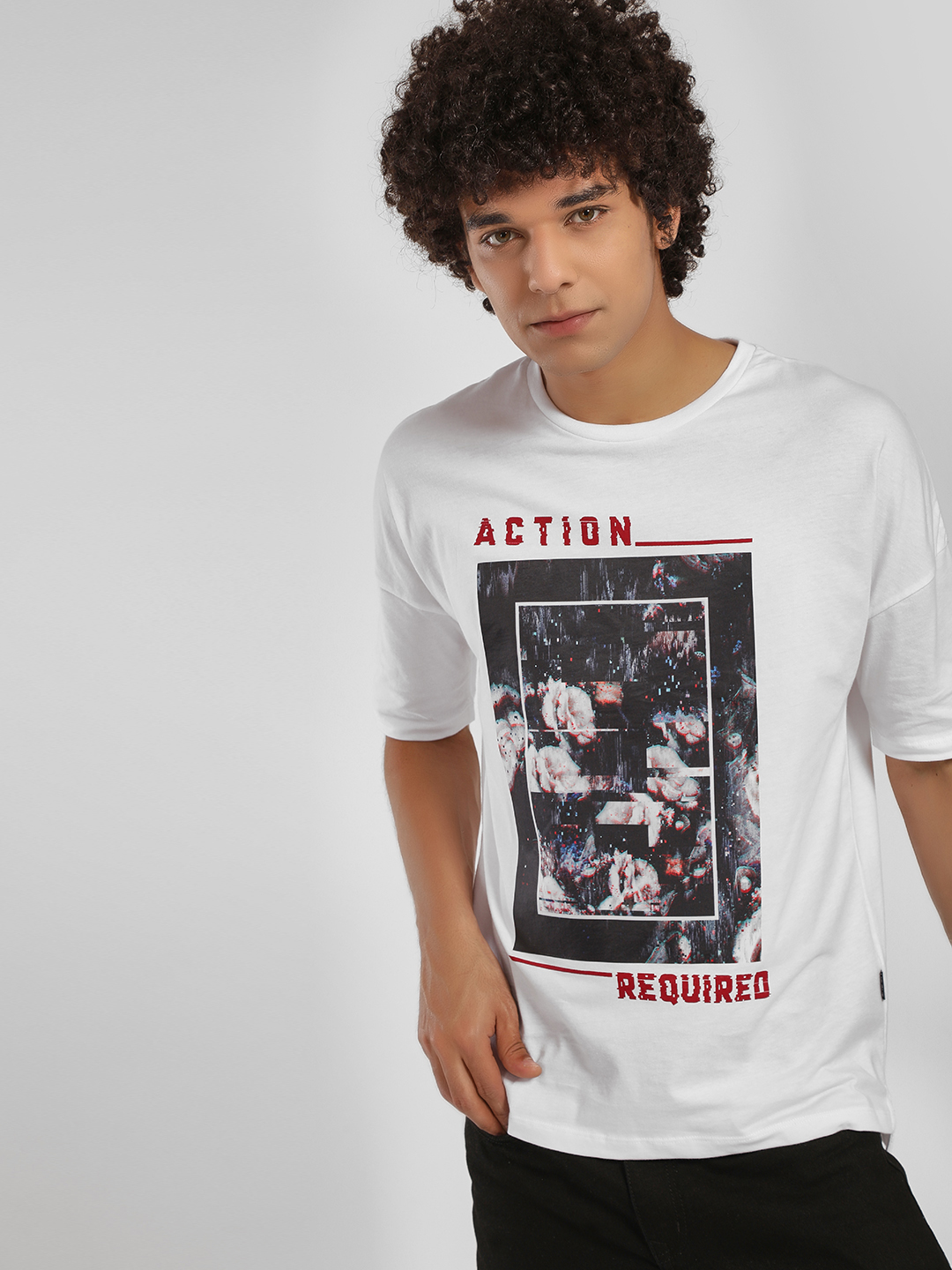 KOOVS White Action Required Sticker Print T-Shirt 1