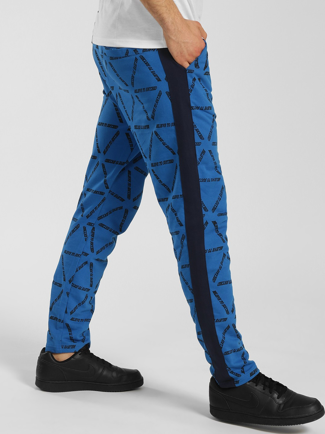 KOOVS Blue Slogan Print Side Tape Joggers 1