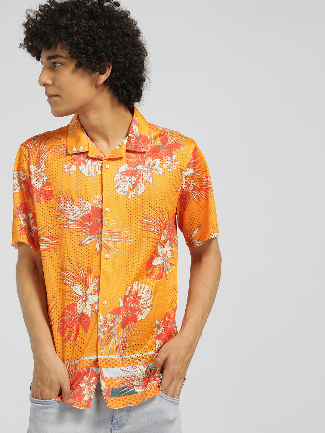 KOOVS Yellow Tropical Mesh Cuban Collar Shirt 1