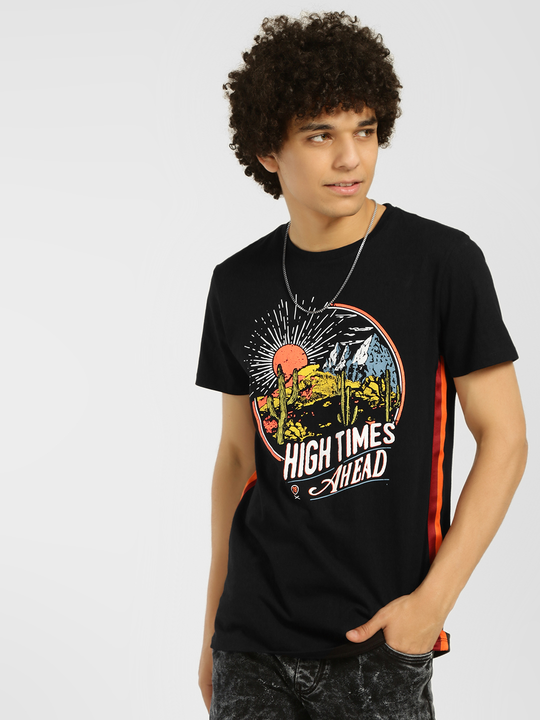 KOOVS Slogan Placement Print T-Shirt