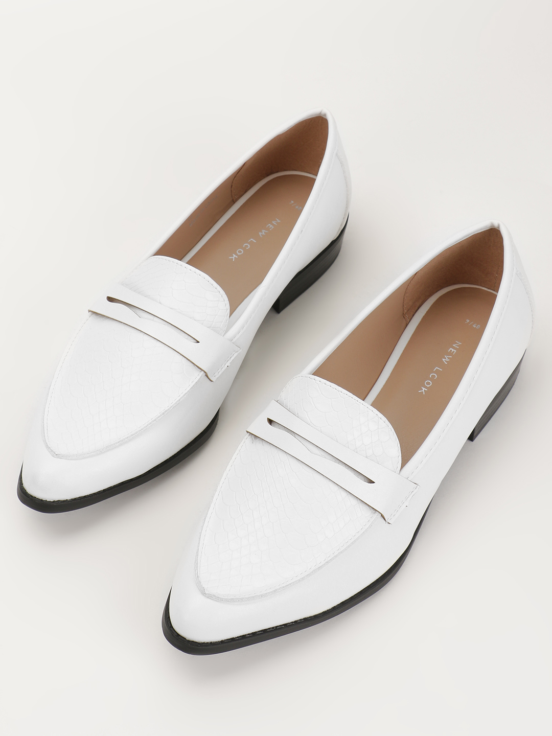 Buy New Look White Crocskin Vamp Penny Loafers for Women ...