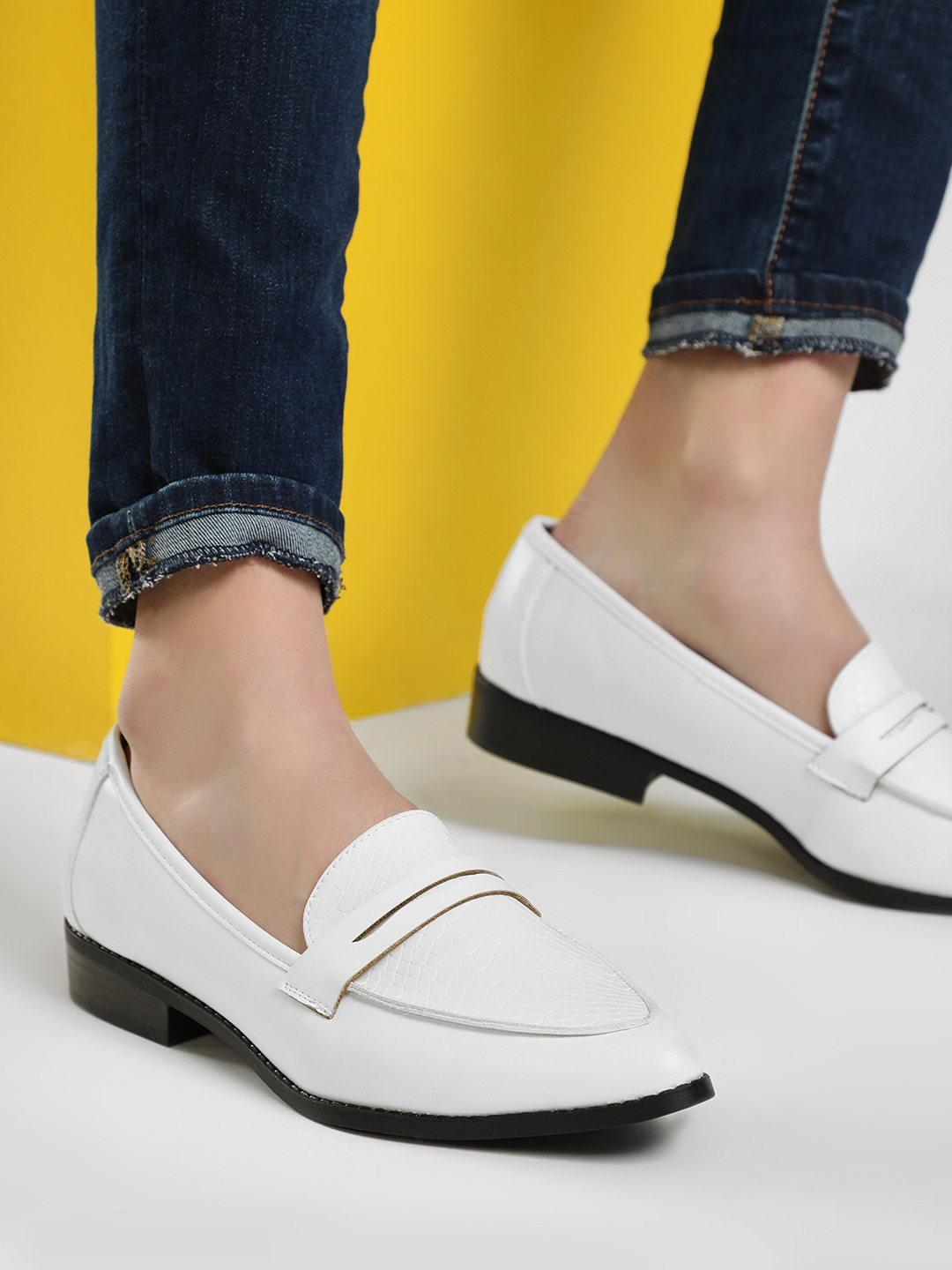 New Look White Crocskin Vamp Penny Loafers 1