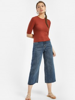 K Denim KOOVS Wide Leg Flared Jeans
