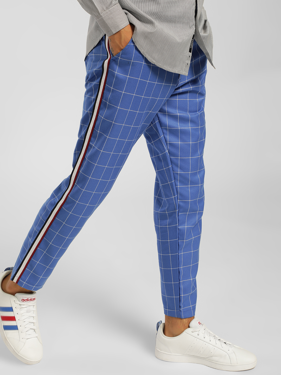 KOOVS Multi Side Tape Windowpane Check Trousers 1
