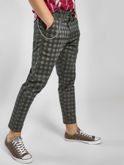 KOOVS Windowpane Check Tapered Chinos