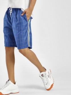 KOOVS Windowpane Check Side Tape Shorts