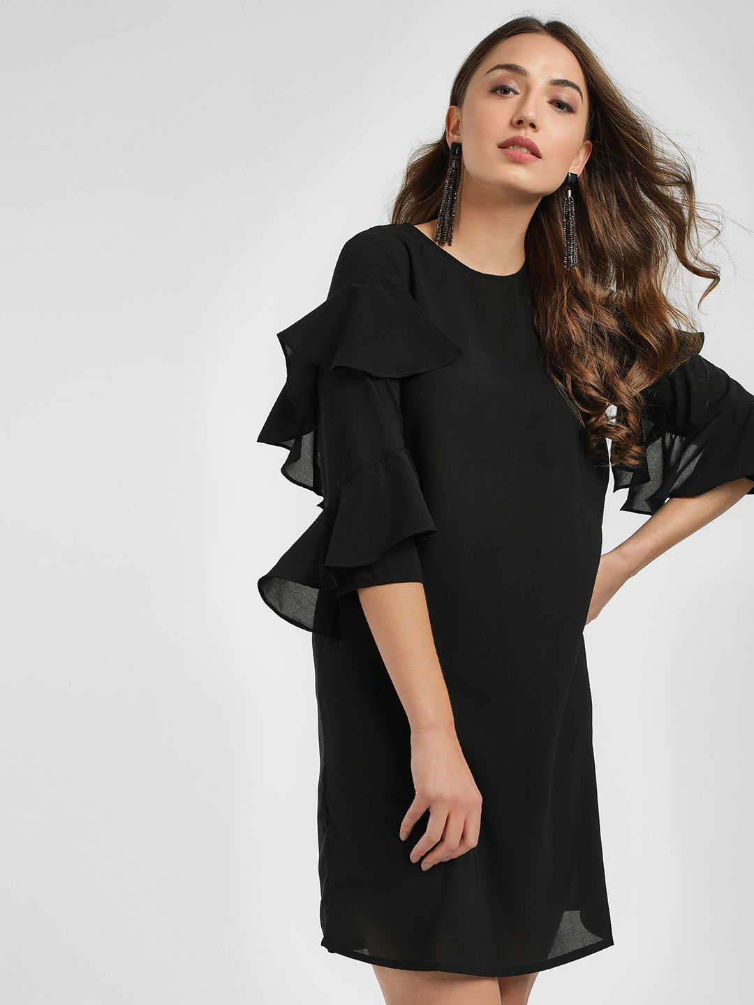 Femella Black Frilled Sleeves Mini Dress 1