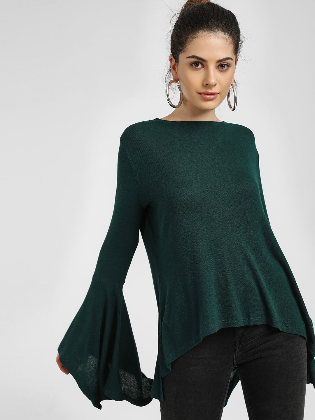 Femella Green Ribbed Handkerchief Sleeve Top 1