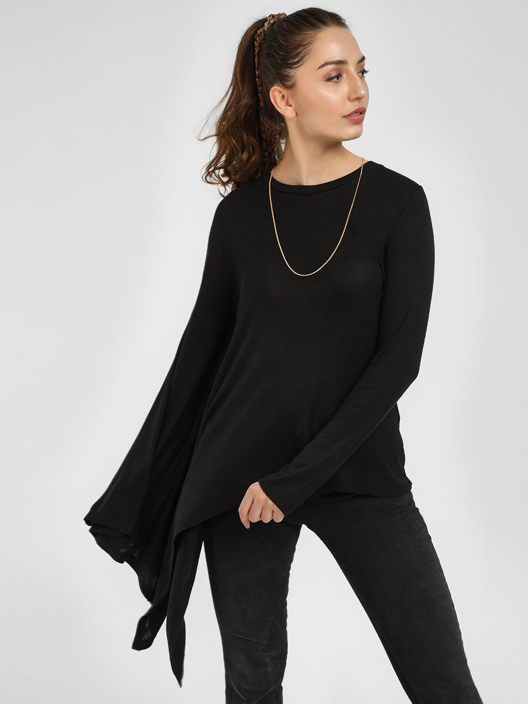 Femella Black Ribbed Asymmetric Hem Top 1
