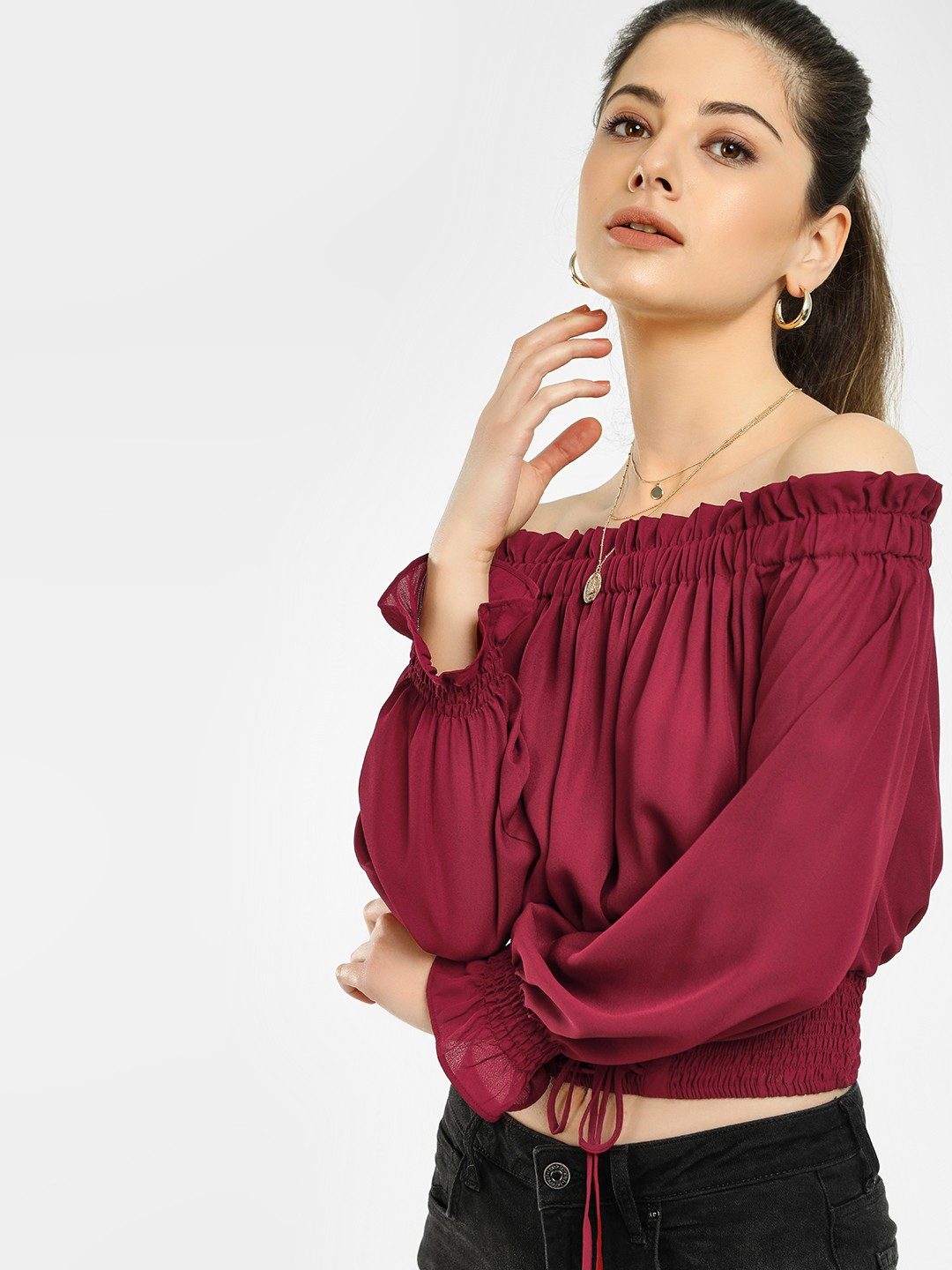Iris Burgundy Smocked Hem Off-Shoulder Crop Top 1