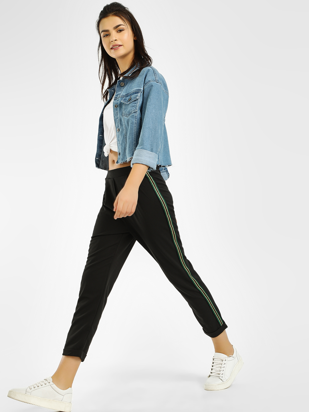 Iris Black Side Stripe Cropped Trousers 1