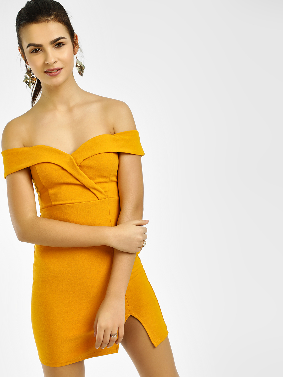 Iris Mustard Bodycon Off Shoulder Dress 1