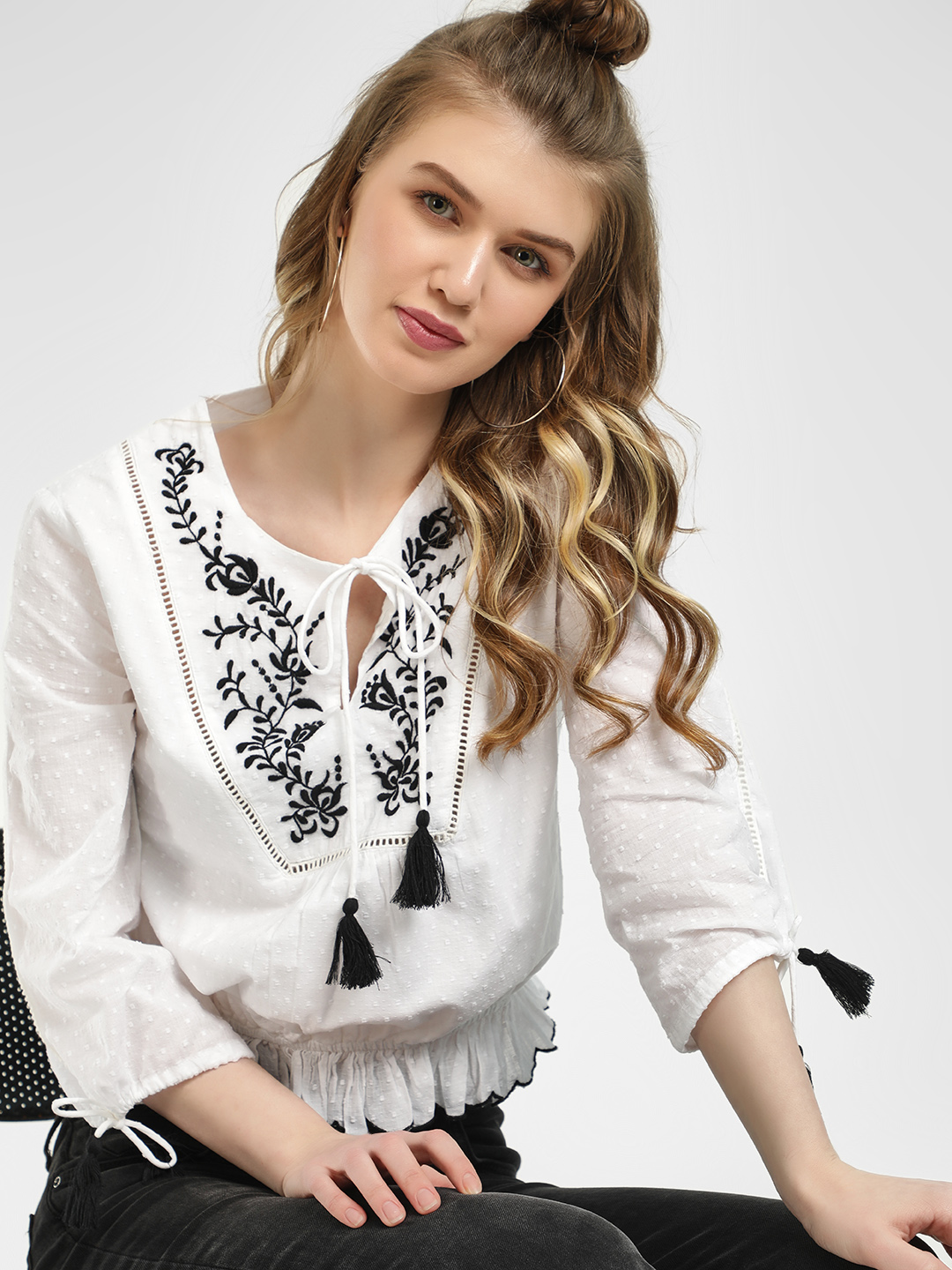 Sbuys White Embroidered Yoke Dobby Blouse 1