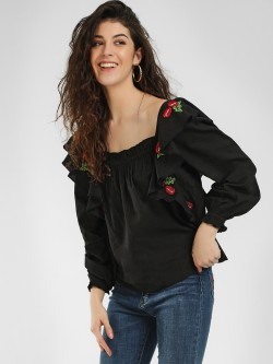 Sbuys Ruffle Sleeves Embroidered Blouse