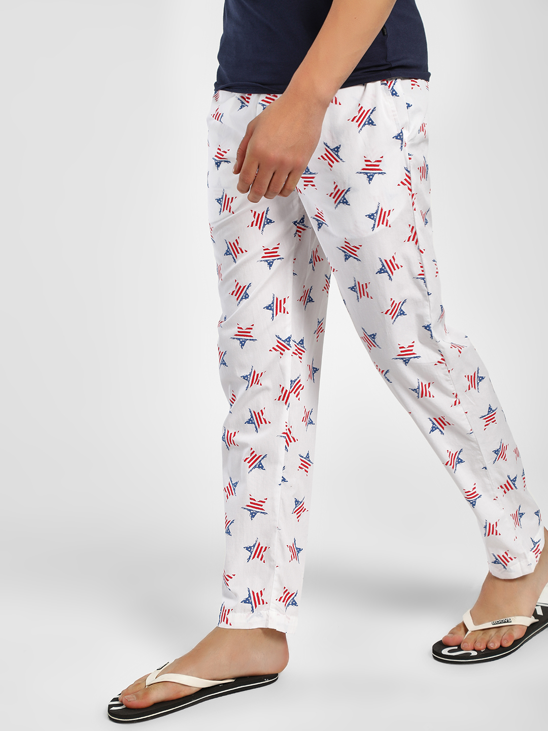 Jack & Jones White American Flag Star Lounge Pants 1