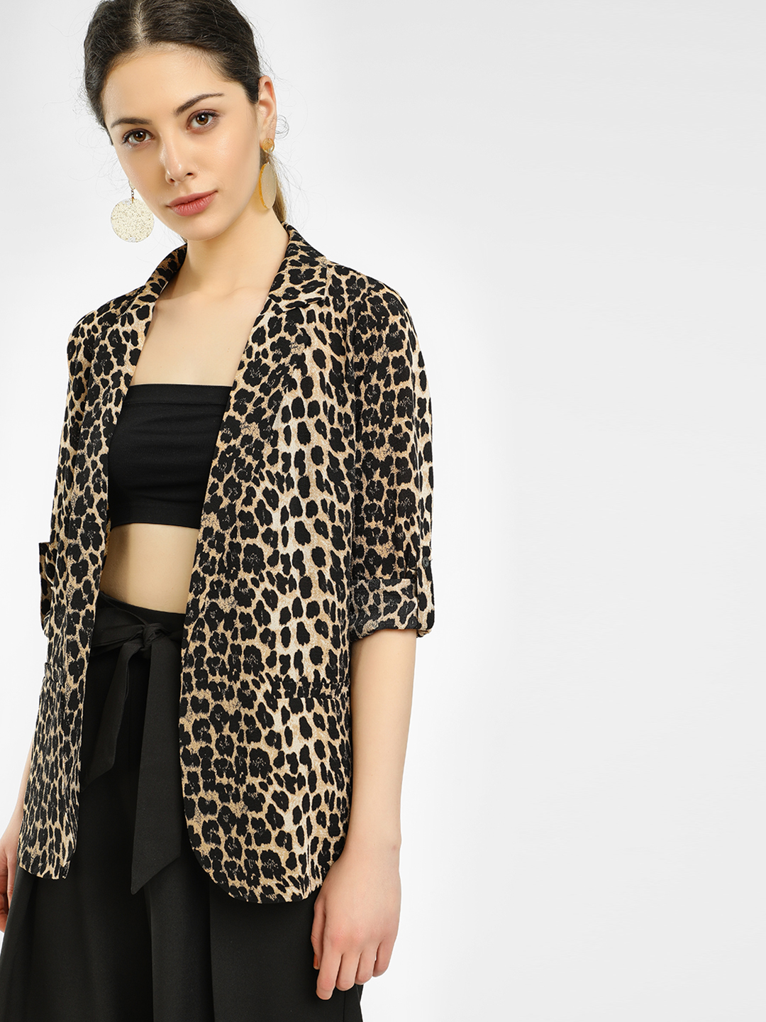 Missi Clothing Multi Leopard Print Front Open Blazer 1