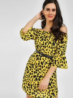 Missi Clothing Leopard Print Bardot Shift Dress