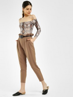 Missi Clothing Paperbag Waist Cropped Trousers